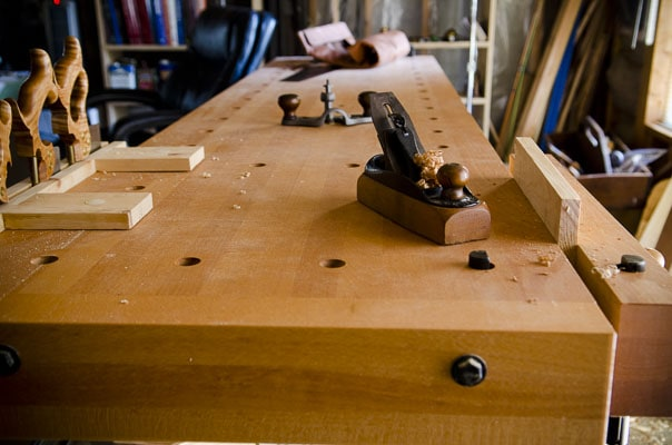 This Wooden Workbench Is A Sjobergs Workbench With A Woodworking Bench Vise And A Stanley Smoothing Plane