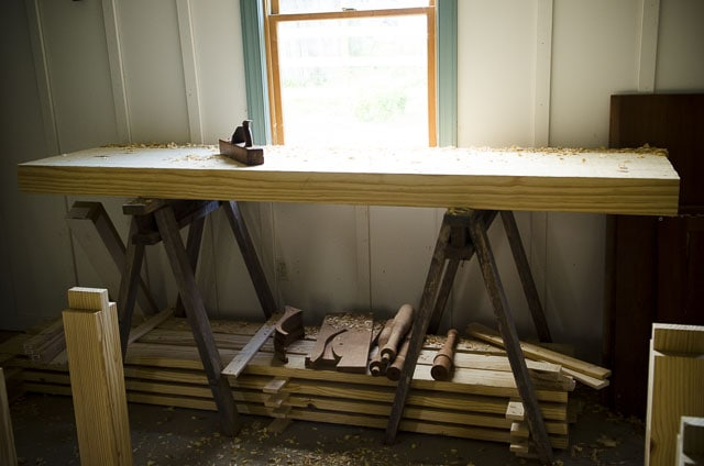 Building A Diy Workbench On Saw Horses With A Hand Plane On The Woodworking Bench Top