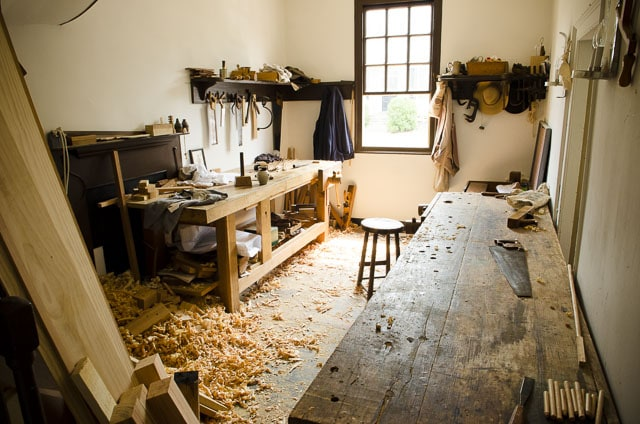 Wooden Workbench And Woodworking Bench At Colonial Williamsburg