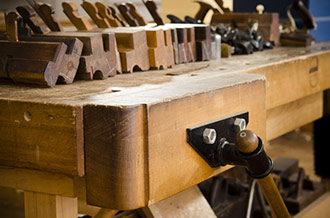 Wooden Workbench Face Vise On A Woodworking Bench
