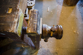 Workbench Leg Vise On An Antique Woodworking Bench Or Wooden Workbench