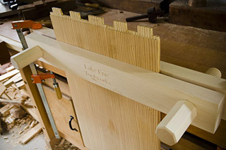This Woodworking Bench Features A Moxon Vise That Is Attached To The Wooden Workbench Top With Wood Clamps