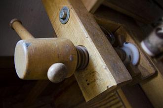 Wooden Workbench Shoulder Vise On An Antique Woodworking Bench