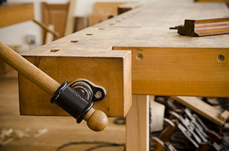 Wooden Workbench Tail Vise On A Woodworking Bench