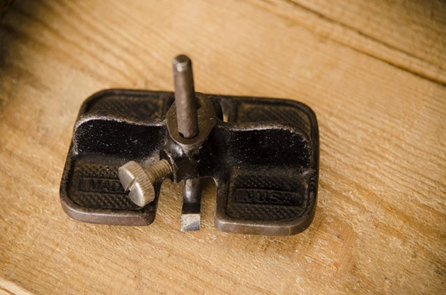 Stanley No. 271 Small Router Plane sitting on a piece of wood
