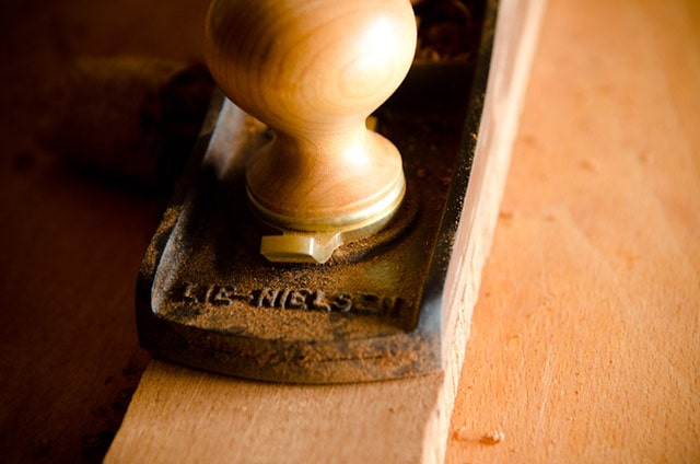 Close-up view of the front of a Lie-Nielsen #62 Low Angle Jack Plane handle