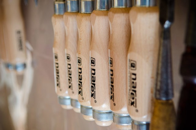 Narex mortise wood chisel handles lined up in a row
