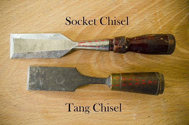 A socket chisel verseus a tang chisel on a woodworking workbench