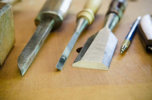 Woodworking Chisels Used For Making A Mortise And Tenon Joint With Woodworking Hand Tools