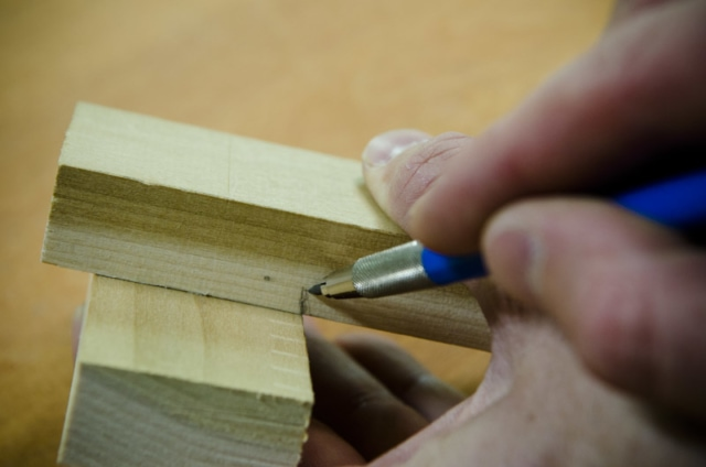 Laying Out The Shoulder Of A Through Mortise And Tenon Joint For A Frame And Panel Chest Lid