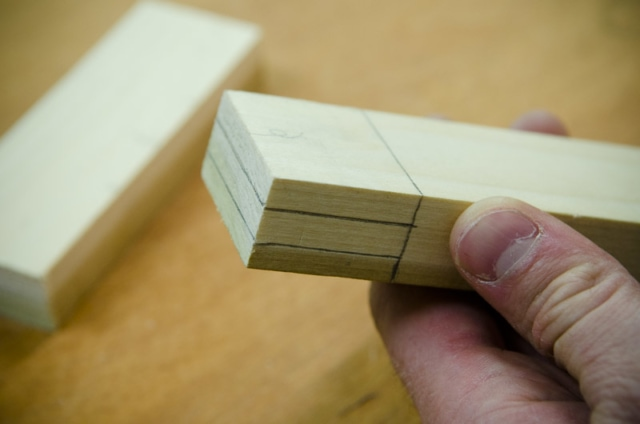 Layout Lines For Cutting A Tenon On A Mortise And Tenon Joint