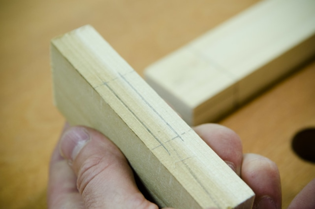 Layout Lines For A Mortise On A Mortise And Tenon Joint