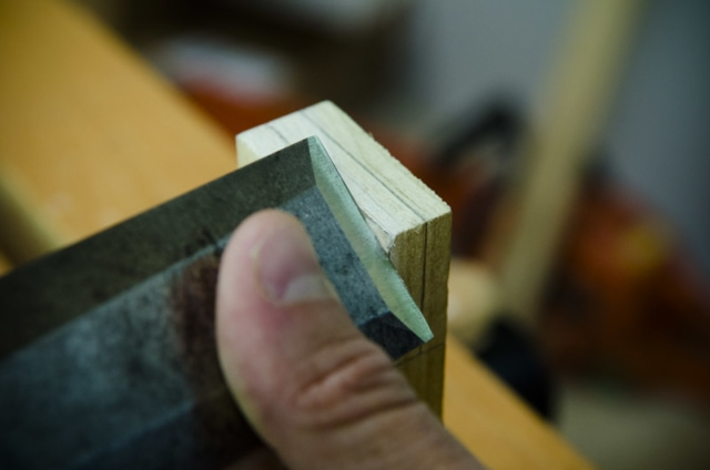 Using A Bench Chisel To Make A Notch For Cutting Tenons On A Mortise And Tenon Joint