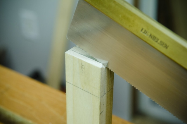 Cutting Tenons With A Lie-Nielsen Dovetail Saw For A Mortise And Tenon Joint
