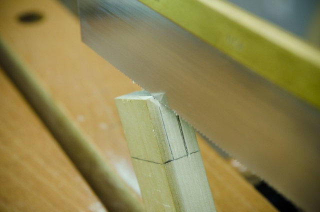 Cutting Tenon Cheeks On A Mortise And Tenon Joint With A Dovetail Saw