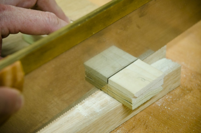 Cutting A Tenon Cheek With A Crosscut Back Saw On A Mortise And Tenon Joint