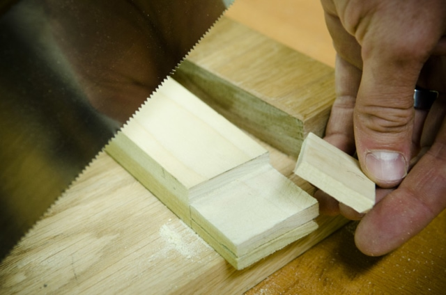 Cutting A Tenon Cheek Off With A Crosscut Back Saw On A Mortise And Tenon Joint