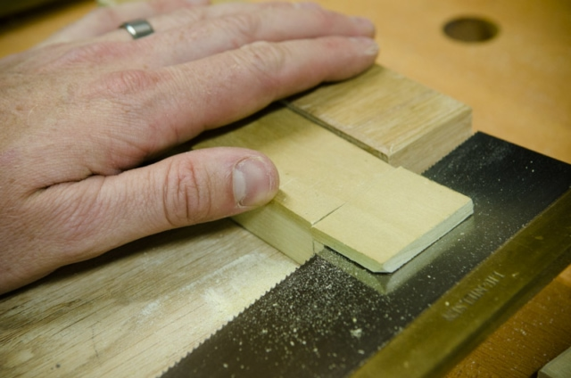 Cutting A Tenon Cheek Off With A Dovetail Saw On A Mortise And Tenon Joint