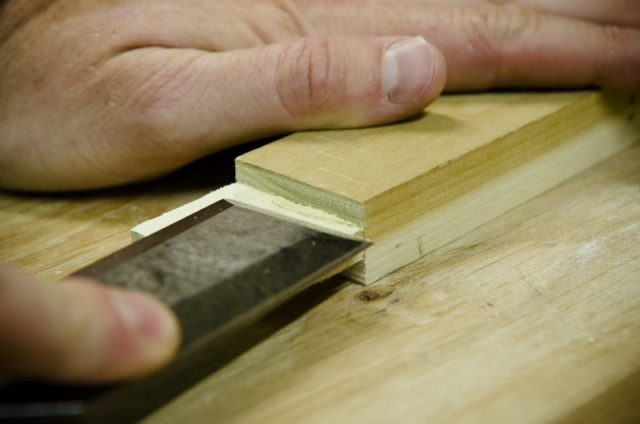 Cutting A Tenon With A Wood Chisel For A Mortise And Tenon Joint