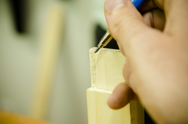 Using A Pencil For Layout Lines For Cutting Tenons Haunches On A Mortise And Tenon Joint