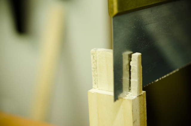 Cutting Tenons Haunches On A Mortise And Tenon Joint With A Dovetail Saw