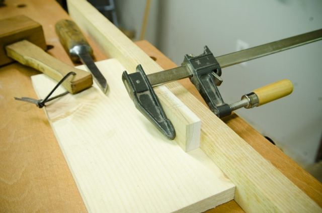 Clamp Holding A Mortise For Chopping With A Mortise Chisel