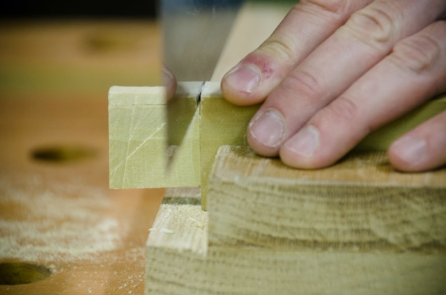 Cutting Tenons Sides On A Mortise And Tenon Joint With A Dovetail Saw