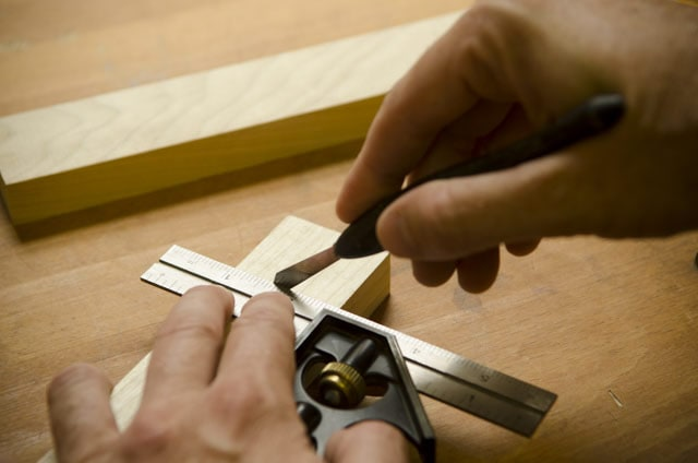 Scribing The Shoulder Line Of A Tenon For A Mortise And Tenon Joint