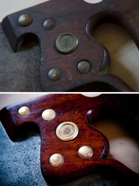 Henry Disston hand saw brass medallion restoration before and after
