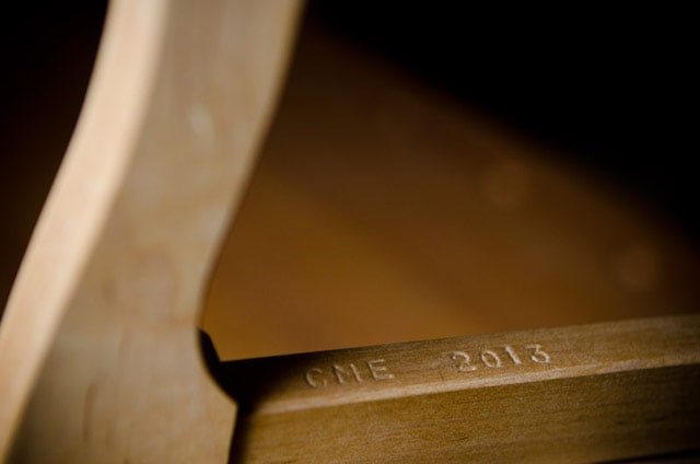 Close up of 12-inch maple bow saw maker mark that reads CME 2013 CME Handworks