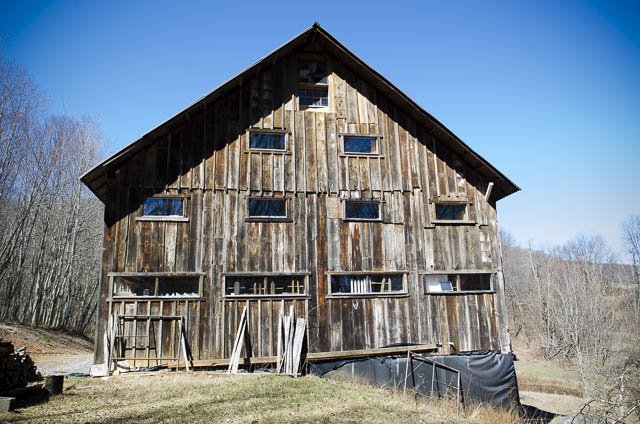 Don Williams old Timber frame barn on White Run in Highland County Virginia