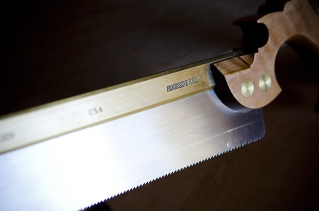 Lie-Nielsen progressive pitch dovetail brass back saw