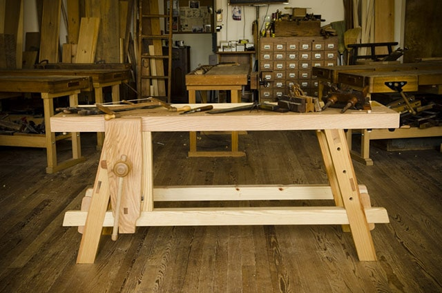 Moravian Workbench built by Will Myers at Roy Underhill's Woodwright's School Wooden Workbench Guide