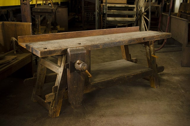Antique Moravian woodworking workbench at the Old Salem village in North Carolina
