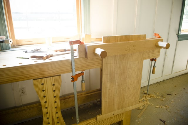 Woodworking Workbench with sliding deadman and Lake Erie Moxon Vise