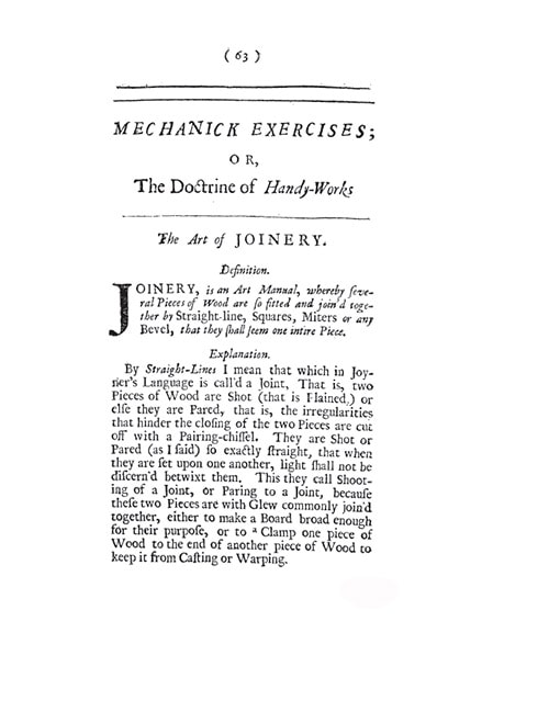 first page of Joseph Monxon's book Mechanick Exercises or The Doctrine of Handy-Works
