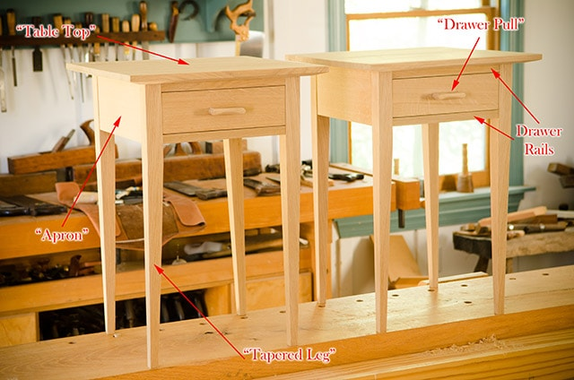 How to build a table tutorial two oak night stands sitting on a woodworking workbench parts of a table diagram