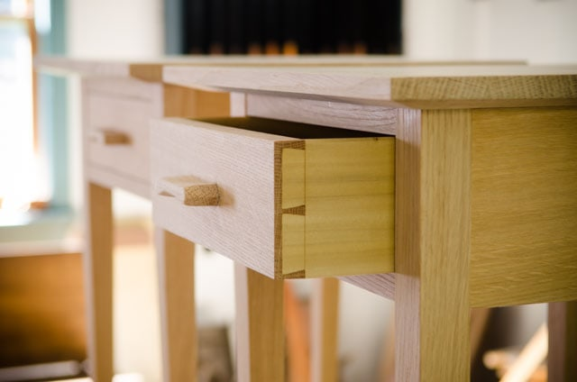 Unfinished quartersawn white oak end table night stand with half blind dovetail drawers