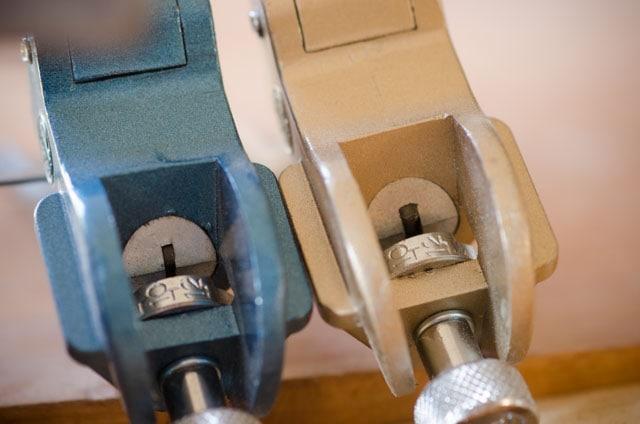 Blue Somax No. 250 fine hand saw set tool and Somax No. 250 gold hand saw set tool