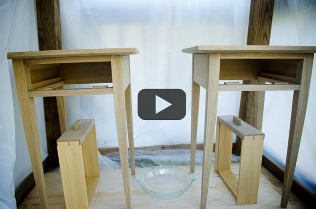 Ammonia fuming quartersawn white oak end tables and drawers in a plastic tent