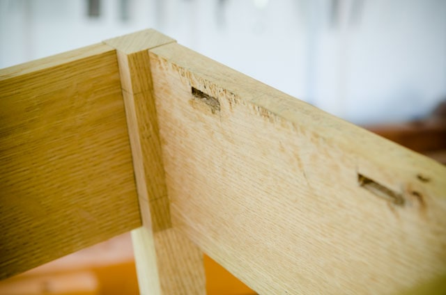 Table aprons inserted into a table leg. Also table top button mortises.