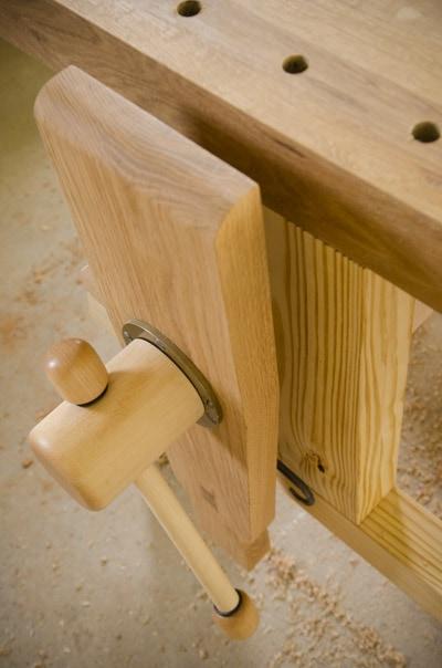 maple leg vise on a moravian workbench