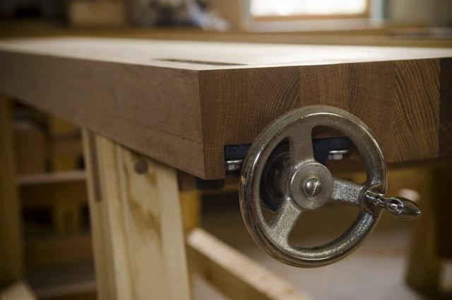 Wagon tail vise on a moravian workbench