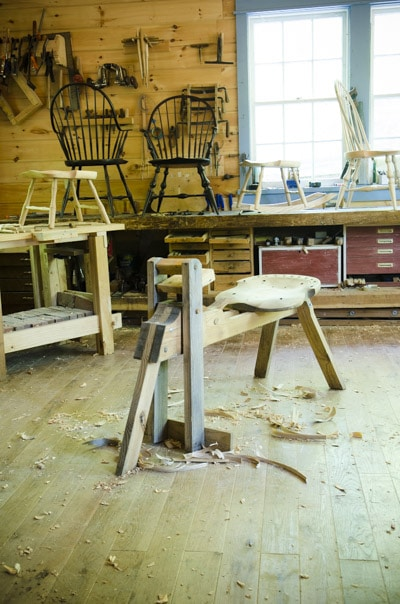 Shaving horse in Elia Bizzarri's chair making workshop