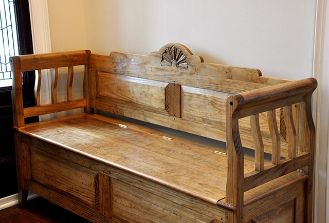 Entry bench with fan carving built by james huggett