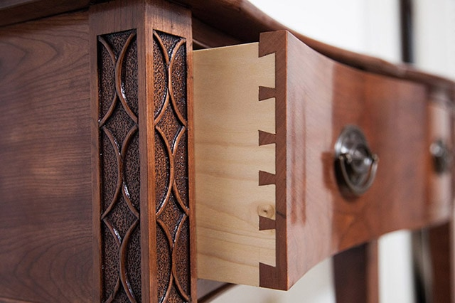 Federal Cherry Serpentine Entryway Table Build By James Huggett With Dovetail Drawers