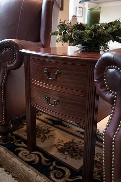 mahogany end table built by james huggett