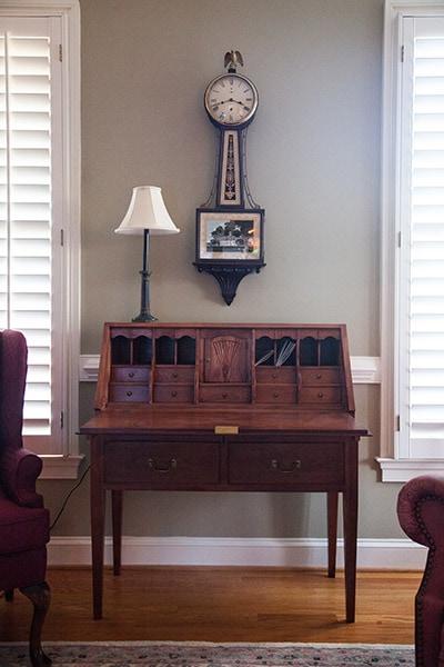 wooden desk built by james huggett