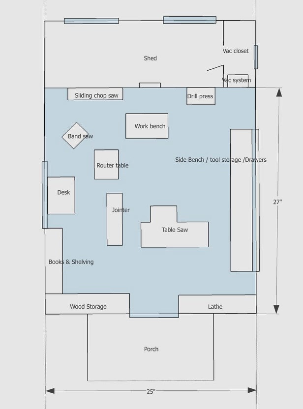 Workshop plans of James Huggett's dream woodworking furniture workshop