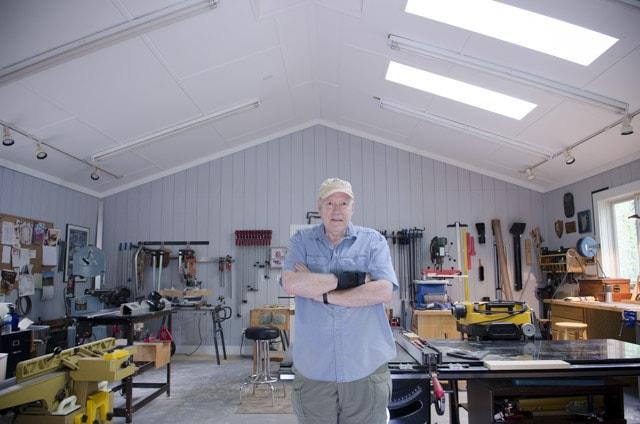 Interior of James Huggett Custom Furniture woodworking workshop